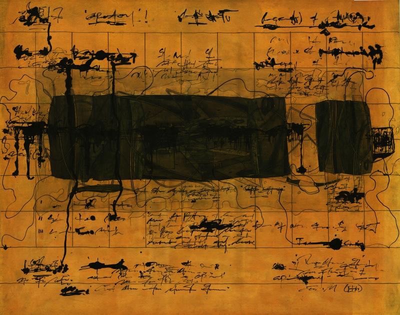 Ola-Dele Kuku - 'The Boundary Condition' II/ IV (2004) 199 cm / 133 cm - (mixed media on paper) courtesy ola-dele kuku projects