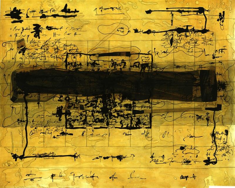 Ola-Dele Kuku - 'The Boundary Condition' III / IV (2004) 199 cm / 133 cm - (mixed media on paper) courtesy ola-dele kuku projects