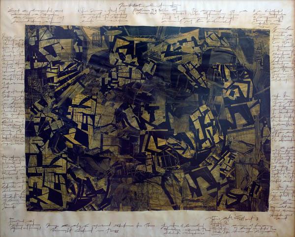 Ola-Dele Kuku - 'Fall Out' I (2003 / 2004) - built image (mixed media on paper 120 cm / 150 cm) courtesy ola-dele kuku projects