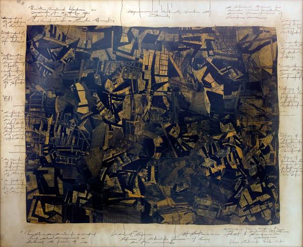 Ola-Dele Kuku - 'Fall Out' II (2003 / 2004) - built image (mixed media on paper 120 cm / 150 cm) courtesy ola-dele kuku projects